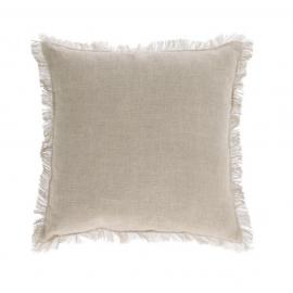 Funda cojín Almira algodón y lino flecos beige 45 x 45 cm