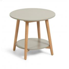 GLYNIS Mesa auxiliar redonda Ø50 de polycemento y madera.