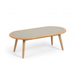 GLYNIS Mesa de centro Ø120x60 cm de polycemento y madera.