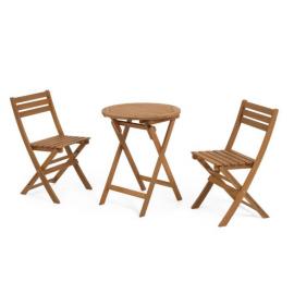 Set de exterior Elisia de mesa y 2 sillas plegables de madera maciza acacia