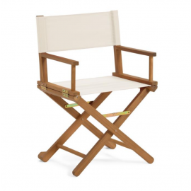 Silla plegable de exterior Dalisa beige y madera maciza acacia