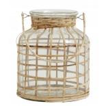 Farol de cristal y bambú.