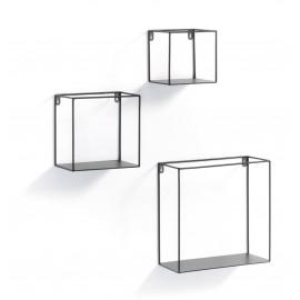 NETH Set 3 estantería de pared metal negro