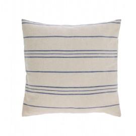 Funda cojín Ziza 100% algodón rayas finas azul y blanco 45 x 45 cm