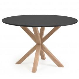 Mesa redonda Full Argo DM lacado negro patas de acero efecto madera Ø 119 cm
