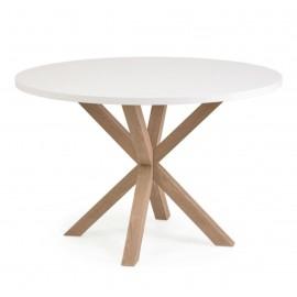 Mesa redonda Full Argo de melamina blanco patas de acero efecto madera Ø 119 cm