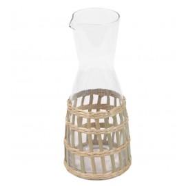 Jarra Emelia cristal transparente y fibra marrón