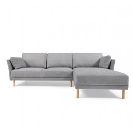 Sofá Gilma 3 plazas con chaise longue derecho gris patas acabado natural 260 cm