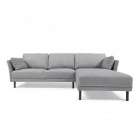 Sofá Gilma 3 plazas con chaise longue derecho gris patas acabado oscuro 260 cm