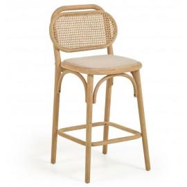 Taburete Doriane madera maciza roble acabado natural y asiento de tela altura 65 cm
