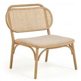 Sillón Doriane madera maciza roble acabado natural y asiento de tela