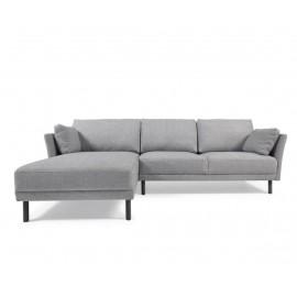 Sofá Gilma 3 plazas con chaise longue izquierdo gris patas acabado oscuro 260 cm