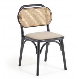 Silla Doriane madera maciza olmo acabado lacado negro y asiento de tela
