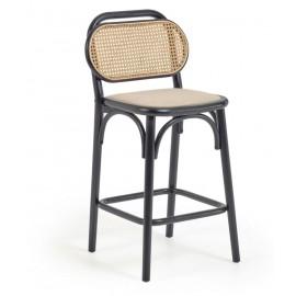 Taburete Doriane madera maciza olmo acabado lacado negro y asiento de tela altura 65 cm