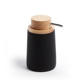 Dispensador de jabón Jenning negro y madera de haya