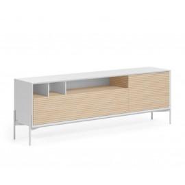 Mueble TV Marielle de chapa de fresno y lacado blanco 187 x 63 cm