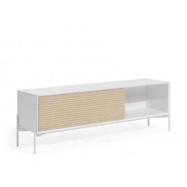 Mueble TV Marielle de chapa de fresno y lacado blanco 167 x 69 cm