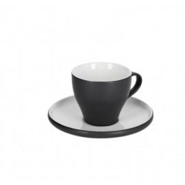 Taza de café con plato Sadashi de porcelana blanco y negro