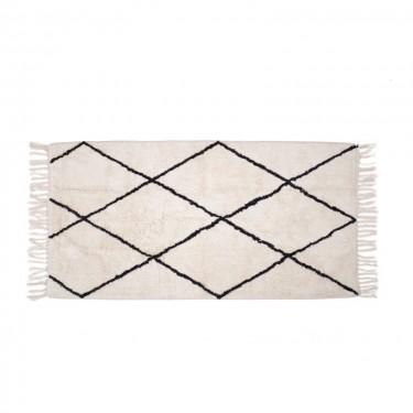 Alfombra blanca con rombos negros 70x140