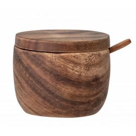Tarro de madera de acacia con tapa y cuchara