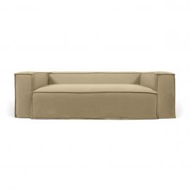 Sofá desenfundable Blok de 3 plazas con lino beige 240 cm