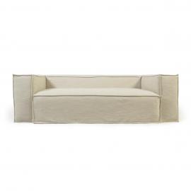 Sofá desenfundable Blok de 3 plazas con lino blanco 240 cm
