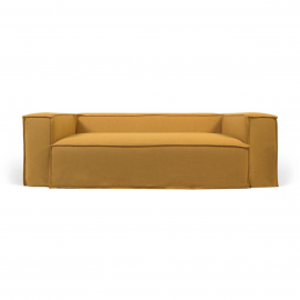Funda para sofá Blok de 2 plazas con lino mostaza