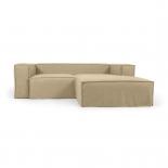 Funda para sofá Blok de 2 plazas chaise longue derecho con lino beige