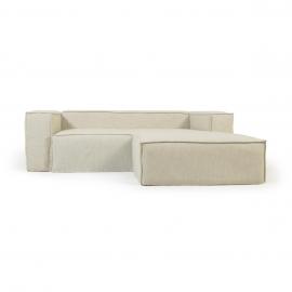 Sofá desenfundable Blok de 2 plazas chaise longue derecho con lino blanco 240 cm