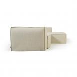 Funda para sofá Blok de 2 plazas chaise longue derecho con lino blanco