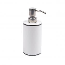Dispensador de jabón Arminda de cerámica blanco y detalle negro