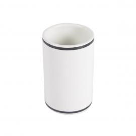 Portacepillos Arminda de cerámica blanco y detalle negro