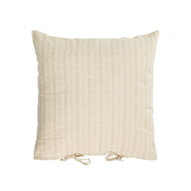 Funda cojín Etna 100% lino rayas beige 45 x 45 cm