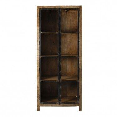 Vitrina luton industrial madera con puertas cristal y hierro for Puertas de hierro y madera