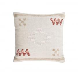 Funda cojín Bibiana de lana y algodón beige con estampado marrón y terracota 45 x 45 cm