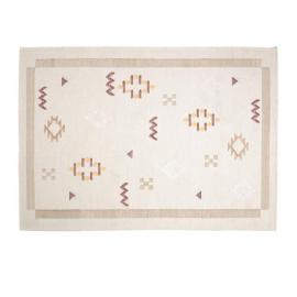 Alfombra Bibiana de lana y algodón beige con estampado 160 x 230 cm