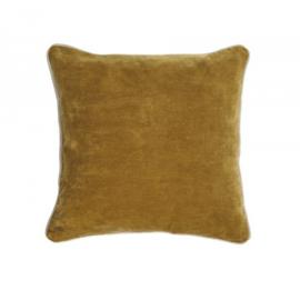 Funda cojín Julina 100 % algodón terciopelo mostaza y borde blanco 45 x 45 cm