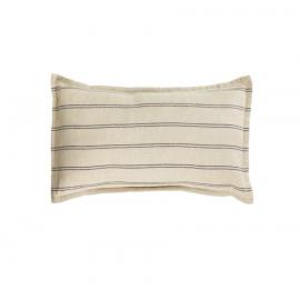 Funda cojín Emeli 100% lino rayas negro 30 x 50 cm