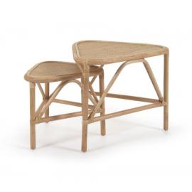 Set Queenie de 2 mesas auxiliares de ratán con acabado natural 65 x 53 cm y 50 x 42 cm