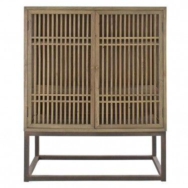 Armario jinan industrial oriental de madera con dos puertas for Armarios estilo industrial