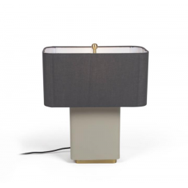 Lámpara de mesa Clelia de metal con acabado pintado beige y gris oscuro