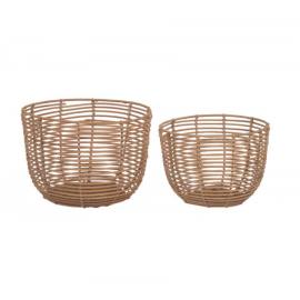 Set Dalina de 2 cestas redondas 100% ratán con acabado natural