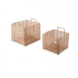 Set Dalina de 2 cestas cuadradas 100% ratán
