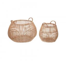 Set Daya de 2 cestas 100% ratán con acabado natural