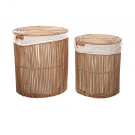 Set Diadorin de 2 cestos de ropa 100% ratán con acabado natural