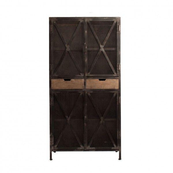 Vitrina lisburn de hierro con puertas de rejilla y for Puertas de hierro y madera