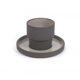 Taza con plato Thianela de porcelana gris