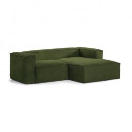 Sofá Blok 2 plazas chaise longue derecho pana gruesa verde 240 cm