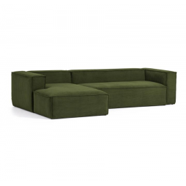 Sofá Blok 3 plazas chaise longue izquierdo pana gruesa verde 300 cm