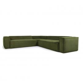 Sofá rinconero Blok 6 plazas pana gruesa verde 320 x 320 cm